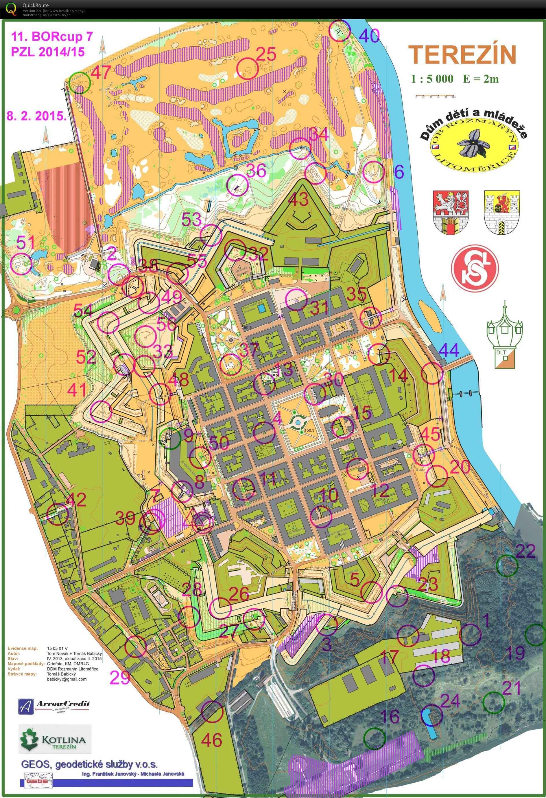 Borcup 7 Terezin Sprint February 8th 2015 Orienteering Map